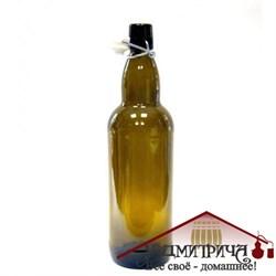 Бутылка с герметичной  пробкой коричневая 1 л - фото 10275