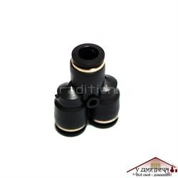 Тройник Y-образный, цанговый зажим под трубку 10 мм (внутренний диаметр трубки), диаметр цангового зажима 12 мм - фото 10493