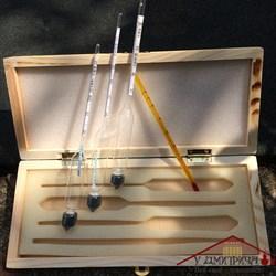 Набор лабораторных спиртометров в деревянной коробке - фото 10626